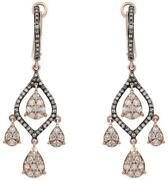 1.15ct White And Chocolate Fancy Diamond 14k Rose Gold Chandelier Hanging Earrings