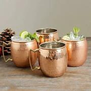New 4 Moscow Mule Mugs Hammered Copper Brass 16 Ounce Oz 500ml Bar 4 Per Set X4