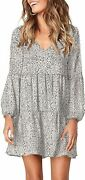 Happy Sailed Womens Leopard Tunic Dress Lantern Sleeve V Neck Casual Loose Flowy