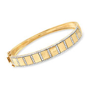 1.00 Ct. T.w. Diamond Border Bangle Bracelet In 14kt Yellow Gold