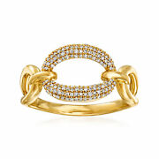 .19 Ct. T.w. Diamond Paper Clip Link Ring In 14kt Yellow Gold