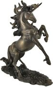 New Rearing Unicorn Bronze Finish Sculpture Statue Mythical Horse Fantasy Gift