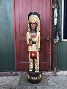 John Gallagher Carved Wooden Cigar Store Indian 4 Ft.tall Statue Very Detailed