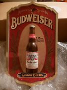 Extremely Rare Budweiser 12 Oz 3d Beer Bottle Display Sign