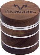 2.5and039and039 4 Piece Walnut Wood Metal Herbal Herb Spice Grinder Crusher Silver W/ Box