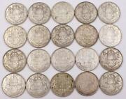20x 1954 Canada 50 Cents 20-coins One Roll Contains 186 Grams Of Pure Silver