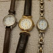 3 Timex Carriage Wrist Women Two Tone Stainless Steel Watches Lot New Batteries