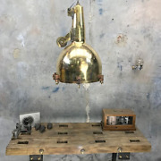 Industrial Old Antique Ship Salvage Hanging Cargo Pendant Light Brass - Large