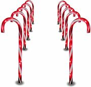 Prextex Christmas Candy Cane Pathway Markers Set Of 10 Christmas Lights L1