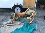 Antique Hand Carved Wood Carousel Jumper Horse Appears To Be Original Paintandnbsp