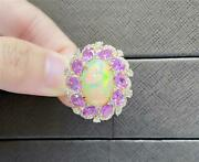 Clearancenwt 6629 18kt Rare Magnificent 10ct Opal Pink Sapphire Diamond Ring