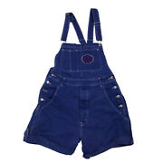 1990s Hip Hop Overall Shorts Blue Pockets Carpenter Embroidered Buttons Retro
