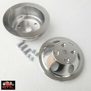 Small Block Chevy Polished Aluminum Water And Crank Pulleys 1 Groove Lwp 350 400