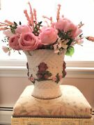 Shabby Antique Vtg Antique Basket Barbola Roses Swags Chippy Paint Gesso French