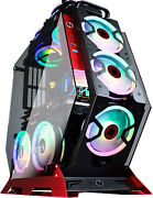 Mid Tower Pc Gaming Case Open Computer Tempered Glass 7pcs Rgb Fans Usb 3.0 Rc