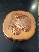 Vintage Copper Jello Baking Mold Wall Art Strawberry Fields Scalloped 5 In By 5