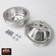 Small Block Chevy Polished Aluminum Water And Crank Pulleys 2 Groove Lwp 350 400