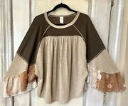 Free People Top Pull Over Mixed Print Brown Tan Wide Flowy Bell Sleeve M New