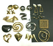 Vintage All Signed Trifari And Monet Brooch Earring Lot Modernist Bold Mint Mm32zd