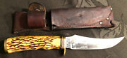 Rare Vintage 1973-79 Schrade 498 Usa 49er Stag Hunting Bowie Knife W/ Sheath