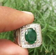 Natural Emerald Ring Mens Emerald Rings Jewelry 925 Sterling Silver Rings