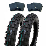 Set Of Two Knobby Tires 2.50-10 With Inner Tubes Tr4 For Mini Dirt Pit Bikes