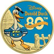 Niue 2014 2 Donald Duck 80th Ann. - Yellow Gold And Blue Gold - 1 Oz Silver Coin