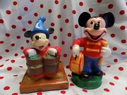 Vintage Plastic Mickey Mouse Banks 2 - Fantasia And Drum Major