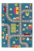 Cars And Roads Theme Blue Adorable Cute Durable Kids Area Rug Carpet Mkds1068