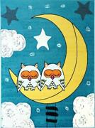 Sky Theme And Owls Blue Adorable Cute Durable Kids Area Rug Carpet Mkds1067