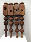 Antique Four Indian Bed Legs Indian Charpoy Old Carved Legs Furniture Khatlo 1