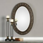Beveled Accent Mirror Oval Gold Antique Vintage Bath Bedroom Home Decor Art Wall