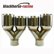 2x Exhaust Tip Dual Slant Polished Staggered Stainless 2.5in 3.5out Leftandright