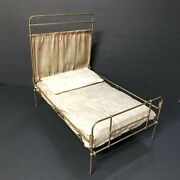 Antique 14andrdquo Primitive Metal Wire Doll Bed High Back Pillow Mattress Canopy Head