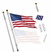 Yeshom 25ft Telescopic 16 Gauge Aluminum Flag Pole 3and039x5and039 Us Flag Ball Top Kit...