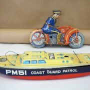 Tin Litho Police On Motorcycle And Pm51 Coast Guard Patrol Boat. For Parts.