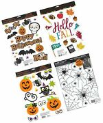 Holiday Designs Halloween And Fall Window Cling Decorations Set - 4 Large She...