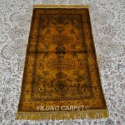 Yilong 2.5and039x4and039 Golden Handknotted Silk Carpet Living Room Small Area Rugs 156ab