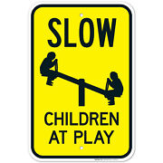 Slow Children At Play Sign With Kids In Swing Sign, Traffic Sign,