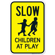 Slow Children At Play With Kids Playing Image Sign, Traffic Sign,
