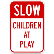 Slow Children At Play Red Sign, Traffic Sign,