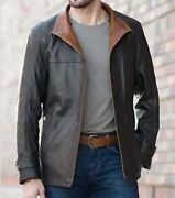 Military Shearing Sheep Leather Black Bomber Jacket For Mens