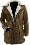 Dark Knight Rises Buffing Brown Bane Jacket Genuine Cow Hide Leather Trench Coat