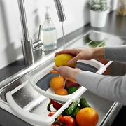 Collapsible Washing Basin Portable Kitchen Sink Drain Strainers With Plug New