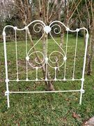 Antique Vintage Cottage Shabby Wrought Iron Full Size Headboard-footboard-frame