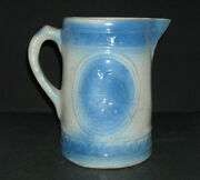 Blue And White Stoneware Lovebird Pitcher - A. E. Hull Pottery Ohio Oh