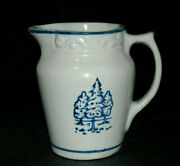 Blue And White Stenciled Fir Trees Creamer Brush-mccoy Pottery Ohio - Stoneware