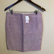 Nwt Banana Republic Skirt Size 8p Dark Pink/ White Slit In Back Lined Dry Clean