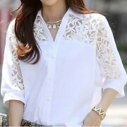 Plus Size Women Shirts Tops White Color Lace Sleeve Tops Summer Clothing