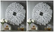 Two Alene Wood Wall Decor Wreath Xxl 40 White Washed Tea Tree Branches